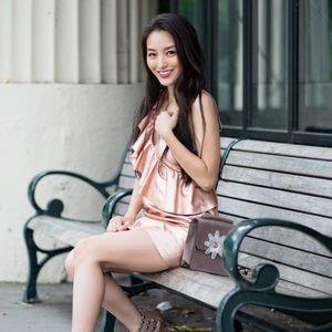 Brand new, metallic pink minidress with ruffle